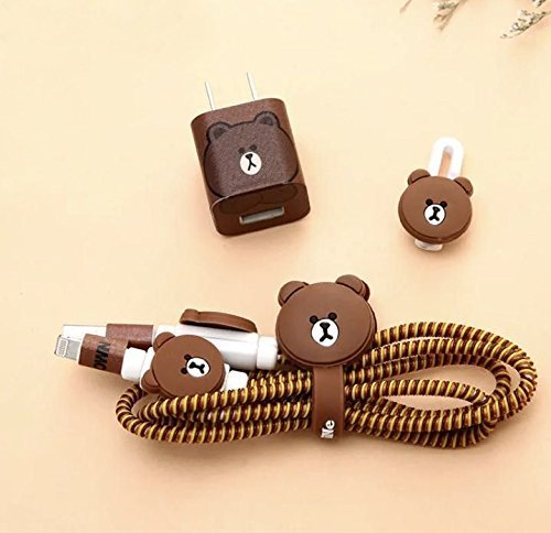 Gugzy Combo of 4in1 Spiral Wire Cable Protector, Organizer, Wrap and Sticker (Brown Bear)