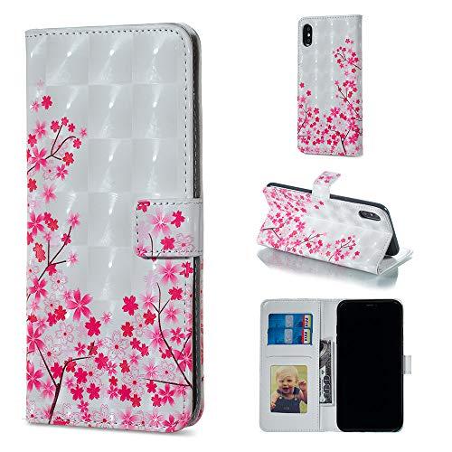 """Miagon Lederhülle für iPhone XS 5.8"""",3D Bunte Glänzend Ledertasche Klapphülle mit Kartenfach Magnet Standfunktion Wallet Flip Tasche Etui Schutzhülle Handyhülle für iPhone XS/X 5.8"""""""