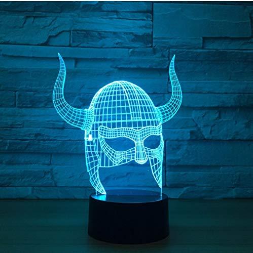 Blbling Ox Horn Maske 3D Lampe Led 3D Nachtlichter Usb 7 Farbwechsel Nachtlichter Touch Schreibtisch Tisch Licht Home Decor