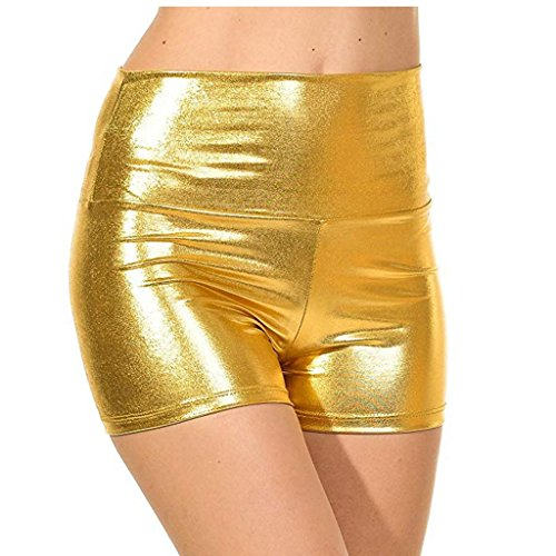 YiZYiF Damen Kurze Fitness Shorts Hot Pants Damen Hose Sport Yoga Wassersport Schwimmen Bikinihose Badehose Schwimmshorts A Gold Medium