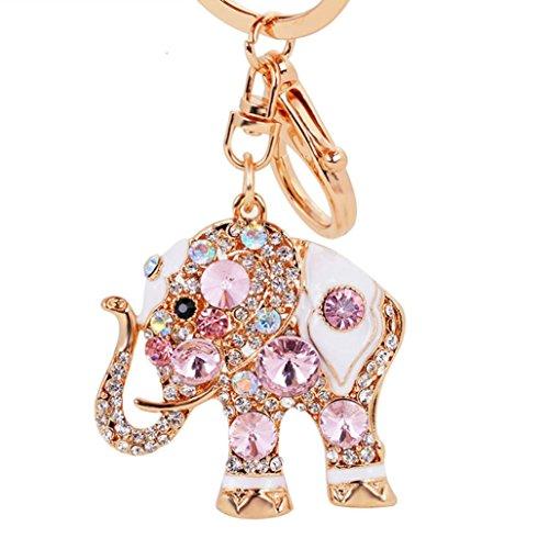Fashion Angels-mode-design (Hevoiok Hase Beliebt Legierung Elefant Diamant Schlüsselanhänger Keychain Tasche Riemen Handtaschen Anhänger Auto Ornamente Dekor (Rosa))