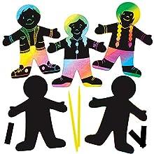 Baker Ross Personnages aimantés à gratter (Paquet de 10) - Loisirs créatifs pour enfants et adultes AT391