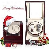 DENO Automatischer Uhrenbeweger für Doppeluhren, Ebenholz 2+0, Holzschale, Lederkissen, Klavierlack, gehärtetes Glas, Japan-Motor