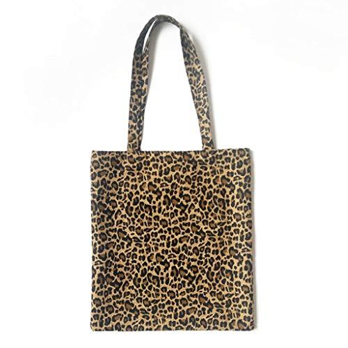 Dabixx Einkaufstasche, Frauen Leinwand Umhängetasche Messenger Girl Leopard Print Hobo Handtasche Satchel Tote Handtasche -