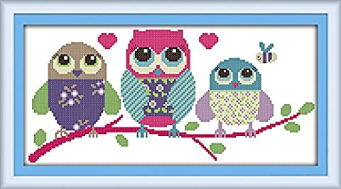 CaptainCrafts Hot New Releases Cross Stitch Kits Patterns Embroidery Kit - Cartoon Owl (WHITE)