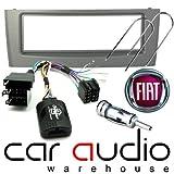 T1 Audio T1-CTKFT03 - Fiat Grande 2005 completo auto cruscotto per Stereo e sterzo Adattatore comandi al volante Kit di montaggio, argento pannello del cruscotto per, sterzo Cavo Adattatore comandi al volante, Adattatore antenna e autoradio per estrazione