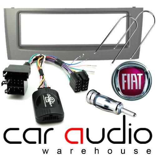 T1 Audio T1-CTKFT03 - Fiat Grande 2005> Autoradio Blende Komplett und Freisprecheinrichtung Strunk Lenkradhülle, silber Blende Gardinenschal, Lenkung Strunk Blei, Antennen und Auto Entfernen Schlüssel