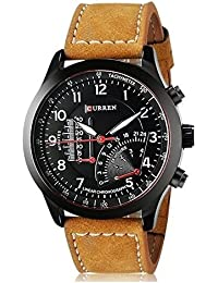 BLUTECH™ 2017 New Collection Curren Festive Season Special Black Round Shapped Dial Brown Leather Strap Party...