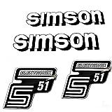 Set Aufkleber Klebefolie für Simson S51 Elektrik Weiss für Tank und Seitendeckel