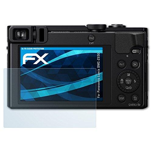 atFoliX Schutzfolie kompatibel mit Panasonic Lumix DMC-ZS50 Folie, ultraklare FX Displayschutzfolie (3X)
