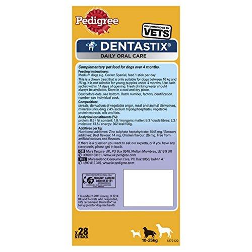 Pedigree DentaStix Hundesnack für mittelgroße Hunde (10-25kg), Zahnpflege-Snack mit Huhn und Rind, 4 Packung je 28 Stück (4 x 720 g) - 6