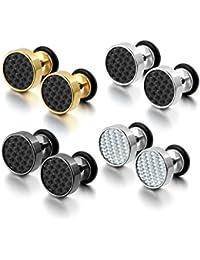 b1ca5a160 Cupimatch Cool 10mm Mens Stainless Steel Stud Earrings Women Piercing Ear  Plug Tunnel Set of 4
