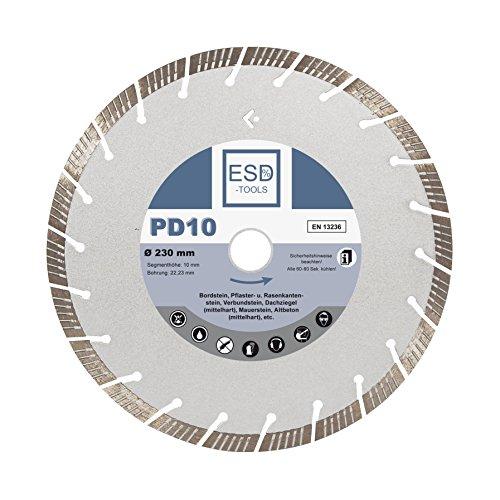 Diamant-Trennscheibe Beton Turbo Ø 230 PD10 Diamant-Trennscheibe mit 22,23 mm Bohrung Diamant-Scheibe geeignet für Beton, Bordstein, Verbundsteine, Pflaster und Rasenkantensteine, Mauersteine, Dachziegel