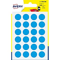 Avery PSA15B Etui de 168 Pastilles diamètre 15 mm A6 Bleu