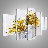 Cuadro Cuadros Mimosa flores de primavera amarilla en las latas de aluminio de la vendimia en la pared de fondo del granero blanco Impresión sobre lienzo - Formato Grande - Cuadros modernos EPL