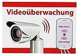 5 x Videoüberwachung Aufkleber Hinweisschild Alarmgesichert Warnschild Alarm Kamera Handy weiß - Top Qualität
