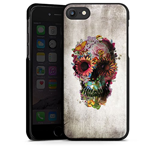 Apple iPhone X Silikon Hülle Case Schutzhülle Totenkopf Skull Blumen Hard Case schwarz