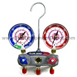 Yellow Jacket 49862 Manifold with Red/Blue Gauges, bar/psi Scale, R-410A Refrigerant by Yellow Jacket