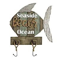 Distressed-Look Wooden Fish Seaside Beach Ocean Wall Sign with Coat Hooks, 18 Inch