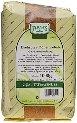 Fuchs Gewürze Drehspiess Döner Kebab, 2er Pack (2 x 1 kg) (Cayenne-pfeffer Salz)