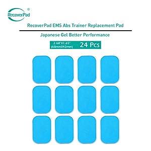 RecoverPad 24 Stück EMS Gel Pad, Abs elektrischer Muskelstimulation Training Gear Massage Gerät Ersatz Gel Tabelle Zubehör Japanisches Gel Blatt für Gel-Pad