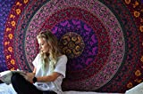 RAJRANG Psychedelic Tapestry Azul Mandala - Wall Hanging Tapiz Bohemio Indio Hippie Tapices Hindu Casa Decorativo - Azul y Purpura - 213 x 137 cm