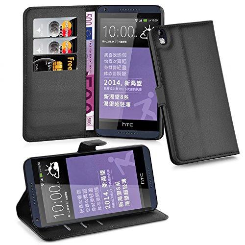 Cadorabo - Etui Housse pour > HTC DESIRE 816 < – Coque Case Cover Bumper Portefeuille (avec stand horizontale et fentes pour cartes) en NOIR DE JAIS