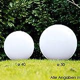 2er Set Kugelleuchten Miau – Leuchtkugeln aus Kunststoff 40 & 50cm mit Erdspiess und 5 Meter Zuleitung – Leuchtkugel außen in Weiß – Deko für Garten – Terrasse – wetterfest – aus PMMA und Acryl