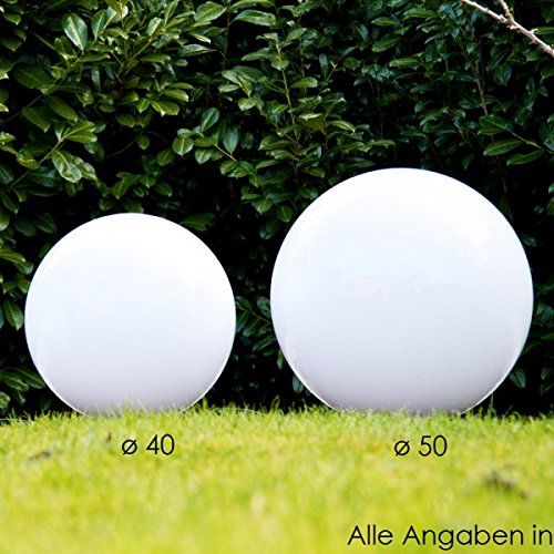Kugelleuchten Set: 40 cm, 50 cm Durchmesser jeweils mit Erdspiess und je 5 Metern Zuleitung im Lieferumfang