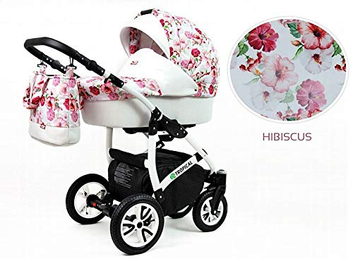 Kinderwagen Tropical,3 in 1 -Set Wanne Buggy Babyschale Autositz mit Zubehör Hibiscus