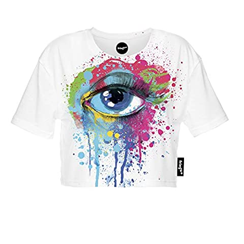 Fringoo ® Women's Girls Crop Top Summer Tee Fashion Cropped T-shirt Festival Party Cotton Top Short Sleeve Printed Shirt 8 / 10 / 12 (One Size Fits UK 8 - 10 - 12, Colourful Eye - Tee)