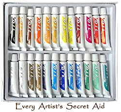 Daveliou Oil Paints Set – 12ml X 24 Colour Paint Tubes – Non Toxic Painting Kit For Beginners Students & Artists
