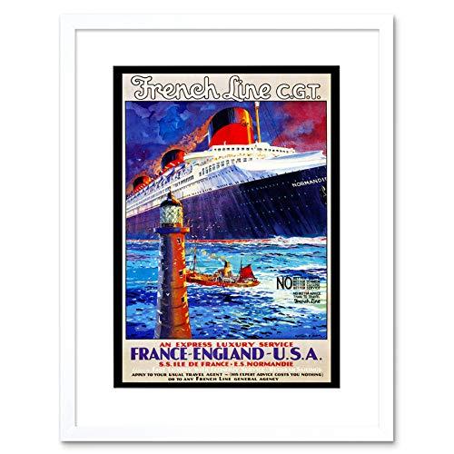 TRAVEL OCEAN LINER SHIP LIGHTHOUSE ATLANTIC BOAT FRANCE FRAMED PRINT B12X11422 -