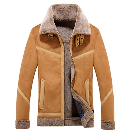 Yuandian uomo invernali casual slim fit giubbini in pelle morbido caldo foderato risvolto similpelle giacca cappotti giubbotto caffè m