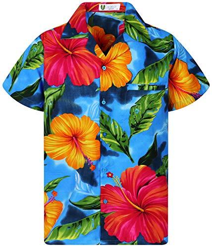 V.H.O. Funky Hawaiihemd, Big Flower, Hellblau, 3XL