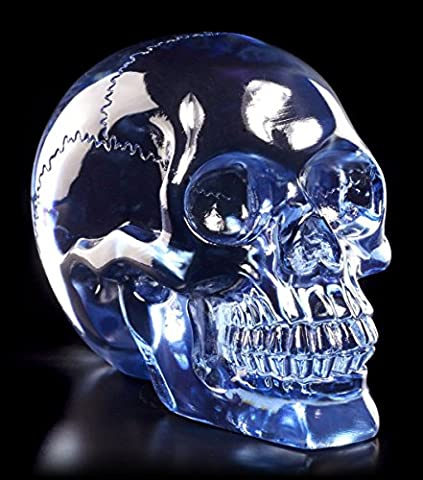 Totenkopf durchsichtig blau - Kristallschädel-Optik klar Schädel Deko Skull Figur