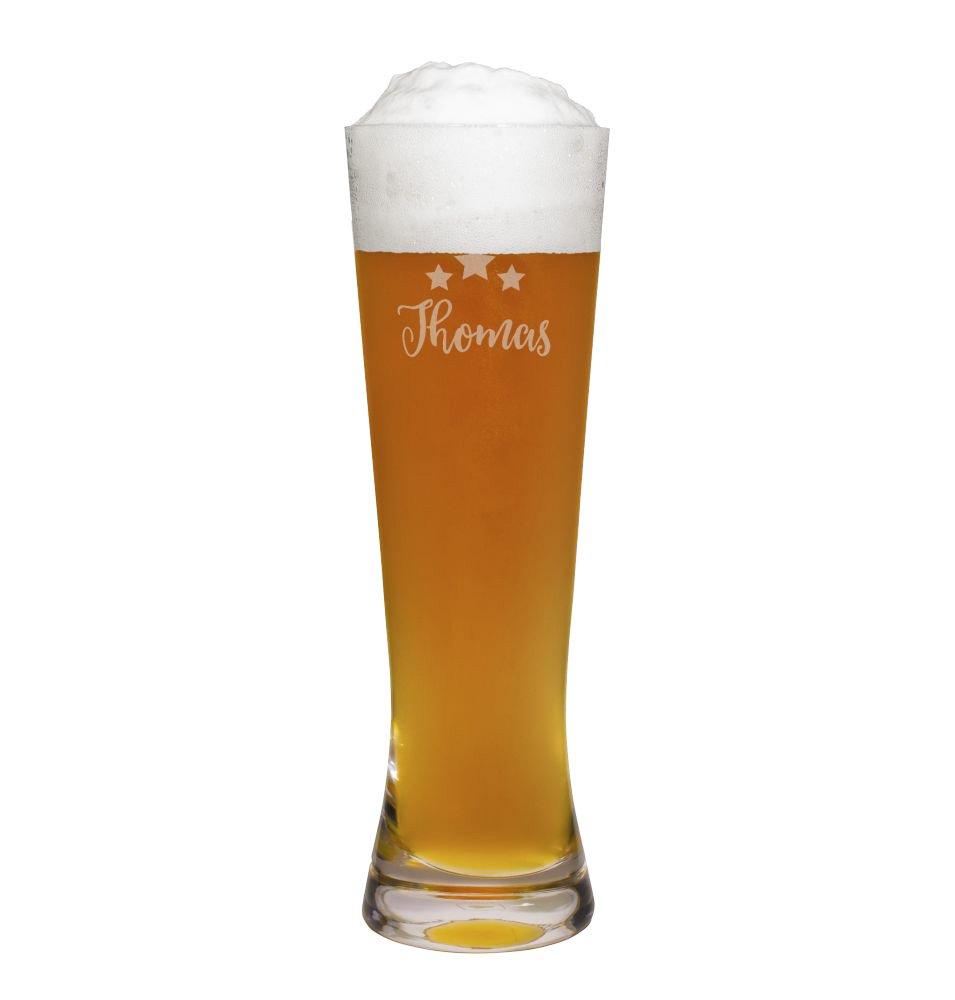 printplanet® Weizenglas mit Namen Thomas graviert - Leonardo® Weißbierglas mit Gravur - Design Sterne