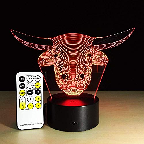MGU Bull Head 3D Lights Colorful Remote Control Touch Bluetooth Led Light Creative Products Usb Night Light Remote-head