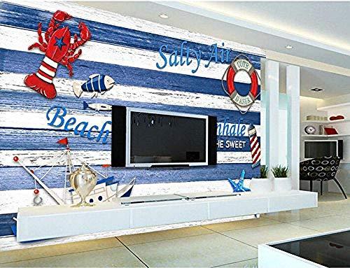 FSKJBZ Benutzerdefinierte Vintage 3D Wallpaper Blau Mittelmeer Holz Bord Segeln Leuchtturm für Das Wohnzimmer Schlafzimmer TV Hintergrund Tapete @ 450 cm x 300 cm