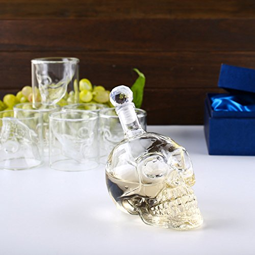 Amzdeal Skull Glas Flasche, Totenkopf Flasche 350ml mit 6 Schädel Gläser 75ml, Schädelflasche mit Whisky Vodka oder Schnapsgläser - 2