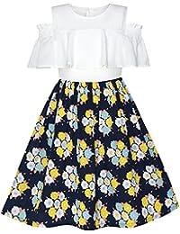 Sunny Fashion Vestido para niña Gasa Mariposa Volante fruncido Frío Hombro Blanco Rosa 7-14 años