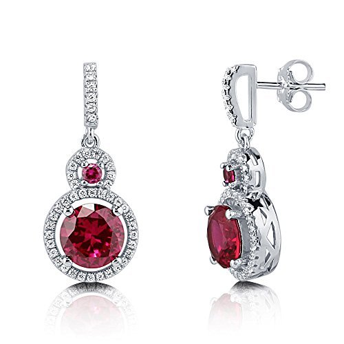 Berricle in argento Sterling placcato al rodio con zirconia cubica taglio rotondo CZ Halo Dangle Drop orecchini