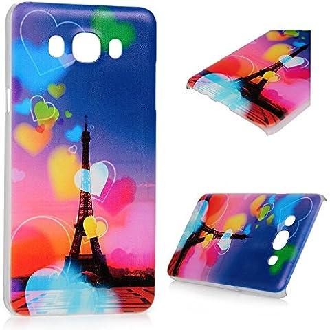 Samsung Galaxy J7 2016 Funda - Lanveni® Chic Elegante Carcasa Rigida PC ultra Slim para Samsung Galaxy J7 2016 Protective completa Case Cover - Patrón Torre amor Diseño