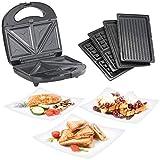 Rosenstein & Söhne Kontaktgrill: 3in1-Sandwichmaker, Waffeleisen & Tischgrill, Anti-Haft, 800 Watt (Sandwich-Toaster)