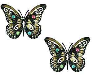 east2eden Set of 2 Medium Dark Metal Wall Art Hanging Butterfly with Glass Bead Decor