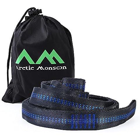 Arctic Monsoon Hamaca portátil, paracaídas en nylon Hamaca 400 lbs (correas de árbol)