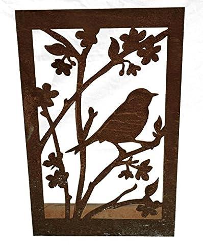 Bild Vogel mit Blüten auf eckiger Platte