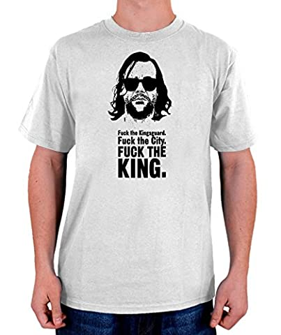 Stylotex Herren T-Shirt Basic Fuck the King , Größe:L;Farbe:weiss (Game Of Thrones Dvd 1-6)