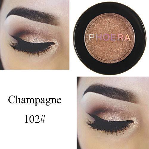 Cwemimifa Valuemakers Eyeshadow,PHOERA Glitter Shimmering Colors Lidschatten Metallic Eye Cosmetic,Schwarz