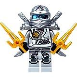 LEGO® Ninjago Minifigure - Zane Titanium Ninja Gold Sai weapons & Silver Swords (70748)